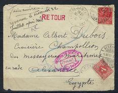Lettre Maritime Pour Le Champollion En 1931 En Rade En Egypte, Taxée Recto Verso - Maritime Post