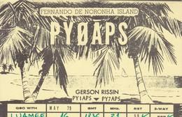QSL CARD RADIOAFICIONADOS/RADIO HAM PY0APS FERNANDO DE NORONHA ISLAND BRAZIL BRESIL CIRCA 1979 TBE-BLEUP - Radio Amateur