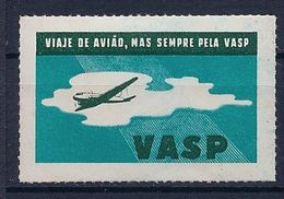 BRESIL  - VIGNETTE AVIATION AVION VASP - NEUF* MLH - Cinderellas