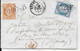 1875 - SIEGE + CERES Sur LETTRE RECOMMANDEE LOCALE De ROUEN (SEINE INFERIEURE) - 1849-1876: Période Classique