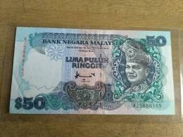 Malaysia 1995 1996 $50 Ringgit Don Paper Banknote EF TDLR Prefik AJ - Malaysia