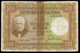 ISLANDE Iceland 500 KRONUR L.1928 Sign 8 P 36a - Iceland