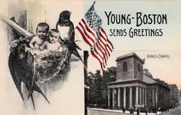 Young Boston Sends Greetings - Babies Bébés Hirondelle Swallow USA Flag Patriotic - Very Good Condition - 2 Scans - Saluti Da.../ Gruss Aus...