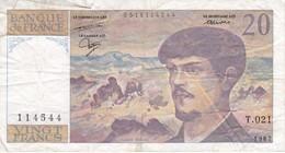 BILLETE DE FRANCIA DE 20 FRANCS DEL AÑO 1987 SERIE T.021  (BANKNOTE) CLAUDE DEBUSSY - 20 F 1980-1997 ''Debussy''