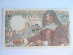 1 Billet De 100 Francs Descartes Neuf De 1942 - 1871-1952 Antichi Franchi Circolanti Nel XX Secolo