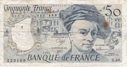 BILLETE DE FRANCIA DE 50 FRANCOS DE QUENTIN DE LA TOUR DEL AÑO 1991 SERIE R (BANKNOTE) - 1962-1997 ''Francs''