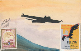 51 // REIMS    Carte Peinte / AVIATION, Vignette Semaine Aviation Champenoise - Reims