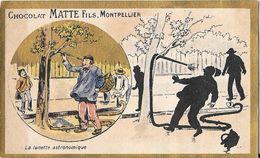 """CHOCOLAT De La FAVEUR De La COLONNE """"MATTE FILS à MONTPELLIER"""" Chromolithographie Dorée - LA LUNETTE ASTRONOMIQUE - Montpellier"""