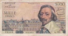 BILLETE DE FRANCIA DE 1000 FRANCOS DEL 1-9-1955 DE RICHELIEU  (BANKNOTE) - 1 000 F 1953-1957 ''Richelieu''