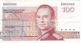 BILLETE DE LUXEMBURGO DE 100 FRANCS DEL  AÑO 1980 SERIE G (BANKNOTE) - Luxemburgo