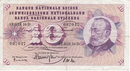 BILLETE DE SUIZA DE 10 FRANCS DEL AÑO 1959 (BANKNOTE) - Suiza