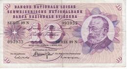 BILLETE DE SUIZA DE 10 FRANCS DEL AÑO 1973 (BANKNOTE) - Suiza