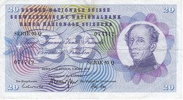 BILLETE DE SUIZA DE 20 FRANCS DEL AÑO 1973 (BANKNOTE) - Switzerland