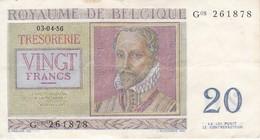 BILLETE DE BELGICA DE 20 FRANCOS DEL AÑO 1956  (BANKNOTE) - [ 6] Treasury