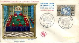 N°58896 -premier Jour D'émission (FDC) Annversaire Cours Des Comptes -cachet Paris 1957- - 1950-1959