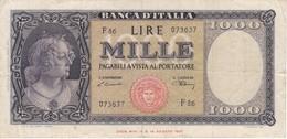 BILLETE DE ITALIA DE 1000 LIRAS DEL 20 DE MARZO DE 1947  (BANKNOTE) - [ 2] 1946-… : Républic