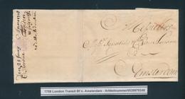 766/25 - UK / NEDERLAND Lettre Précurseur LONDON 1708 Vers AMSTERDAM - Port X à La Craie Rouge - Signée Browne - Pays-Bas