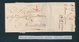 767/25 - UK / NEDERLAND Lettre Précurseur LONDON 1709 Vers AMSTERDAM - Port X I à La Craie Rouge - Signée Browne - Pays-Bas