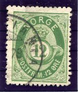 NORWAY 1877 Posthorn 12 Øre, Fine Used.  Michel 26 - Used Stamps