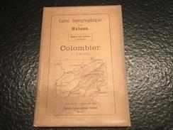 Colombier - TOPOGRAPHISCHE ATLAS DER SCHWEIZ - 1910 - CARTE TOPOGRAPHIQUE DE LA SUISSE -Report Sur Pierre - 2 COLOURS - Topographische Karten