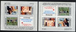 MACEDOINE 1994, Bienfaisance Yv. 7, Croix-Rouge, Enfants, Colis, Homme Et Enfant, 2 Blocs Dent. Et ND, Neuf / Mint. R695 - Macédoine