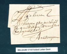 771/25 - Lettre Précurseur GENT 1718 Vers Antwerpen - Port à L'encre 2 - Signée Willem - 1714-1794 (Austrian Netherlands)