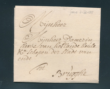 772/25 - Lettre Précurseur GENT 1737 Vers BRUGGHE - Pas De Port (Franchise?) Vers Damerin , Schepen Der Stadt - 1714-1794 (Austrian Netherlands)