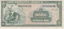 BILLETE DE ALEMANIA DE 20 MARCK DEL AÑO 1949  (BANKNOTE) RARO - [ 7] 1949-… : FRG - Fed. Rep. Of Germany