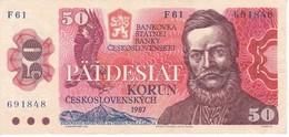 BILLETE DE CHECOSLOVAQUIA DE 50 KORUN DEL AÑO 1987 EN CALIDAD EBC (XF)  (BANKNOTE) - Tchécoslovaquie