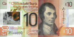 SCOTLAND (CLYDESDALE BANK) 10 POUNDS 2017 P-230 UNC [SQ230] - 10 Pounds