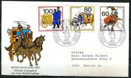 """Germany Berlin 1989 First Day Cover Mi.Nr.852/54 Ersttagsbrief""""Histor.Postbeförderung-Briefbote,Postkutsche, """"1 FDC - Post"""
