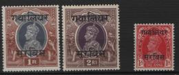 Gwalior 1938 Servizio Y.T. S.46/48 MH/** VF - Grande-Bretagne (ex-colonies & Protectorats)