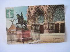 CPA  REIMS Portail De La Cathédrale Et Statue Jeanne D'Arc T.B.E. - Reims