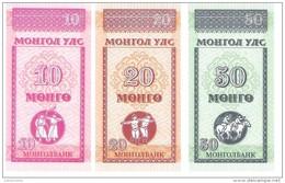 Mongolia - Pick 49-50-51 - 10-20-50 Mongo 1993 - Unc - Set 3 Banknotes - Mongolia
