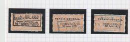 """Timbre Fiscal """"Permis De Chasser"""", Type """"général"""" 1970/1972 - Fiscaux"""