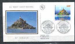 1998  FRANCE  FDC 1ER JOUR SUR SOIE LE MONT ST MICHEL - Abbeys & Monasteries