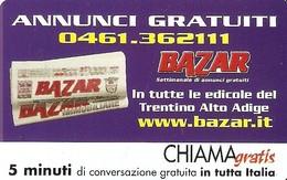 *CHIAMAGRATIS - N.197 - BAZAR* - Scheda Usata (DT) - Italia
