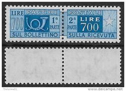 Italia Italy 1955 Pacchi Postali Stelle L.700 Sa N.PP100 Nuovo Integro MNH ** - Pacchi Postali