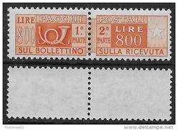 Italia Italy 1955 Pacchi Postali Stelle L.800 Sa N.PP101 Nuovo Integro MNH ** - Pacchi Postali