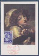 Croix Rouge Jeune Fille Au Petit Chien De Greuze 71 Tournus 11 12 1971 Carte Postale 1er Jour N°1700 - Cartes-Maximum