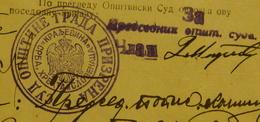 1920 YUGOSLAVIA KINGDOM, POSSESING APLICATION PRIZREN. SUD OPSTINE GRADA PRIZRENA - Announcements