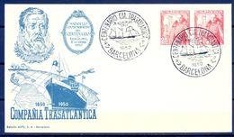 1950 , SOBRE CON MATASELLOS CONMEMORATIVO DEL CENTENARIO DE LA COMPAÑIA TRANSATLANTICA DE BARCELONA - 1931-50 Briefe U. Dokumente
