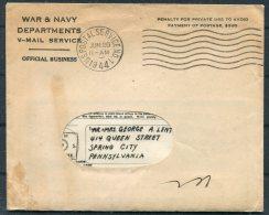 1944 Iceland USA Military APO 860 V-Mail + Cover - Spring City, Pennsylvania - 1918-1944 Administration Autonome