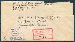 1944 Iceland USA Military APO 860 Registered Cover + Letter - Spring City, Pennsylvania - 1918-1944 Administration Autonome