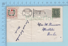 Erinnophilie  - 1908 Merry Christmas On A CPA , Cover Brockton 1908 Mass, USA, Card: Merry Christmas Horseshoe - Erinnophilie