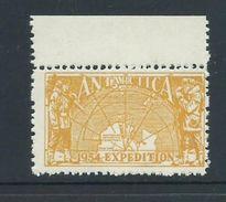 Australian Antarctic Territory 1954 Expedition Label Yellow Map Single MNH - Australian Antarctic Territory (AAT)