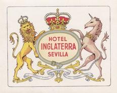 SPAIN ESPAÑA    -  HOTEL LUGAGGE  LABEL - HOTEL INLATERRA - SEVILLA - Etiketten Van Hotels