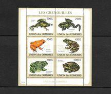 O) 2009 COMOROS, FROGS-AMPHIBIANS, XENOPOS-ASTYLOTERNUS-MANTELLA-GOLIATH-PYXICEPHALUS-BREVICEPS, MINI SHEET MNH - Comoros