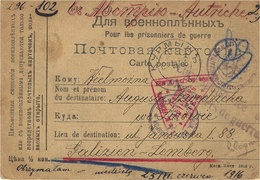 WWI - 1916- C P F M  From A Polish W P To Galizien-Lemberg - Censures Russe Et Allemande - ....-1919 Provisional Government