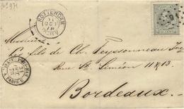 1878 - Lettre De Rotterdam à Bordeaux  T P  Oblit. Chiffre 91  Entrée PAYS-BAS   A.VAL. A PARIS C  Noir - 1863-1870 Napoléon III Con Laureles